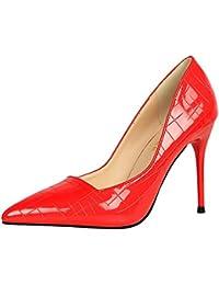 YMFIE In stile europeo fine rivetto sexy punta tacco alto scarpe donna temperamento Moda scarpe da lavoro scarpe singolo,38 UE,gules