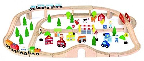 Viga Toys - 50998 - Circuit De Train Miniature Et Rail - 90 Pièces