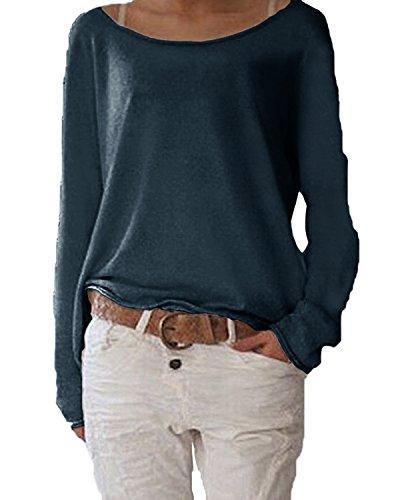 Schöne Pullover (Damen Langarm T-shirt Rundhals Ausschnitt Lose Bluse Hemd Pullover Oversize Sweatshirt Oberteil Tops ,Farbe Navy , Gr. Medium / EU 40-42)