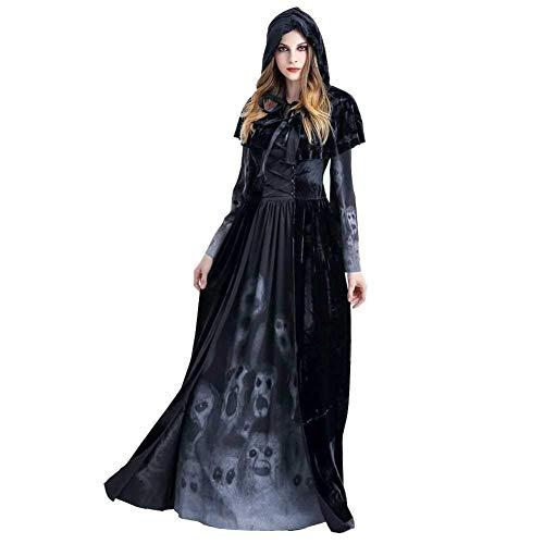 lili Halloween Kostüm,Böse Hexe Kostüm Dämon Kostüm Mit Hut Mantel, Beängstigend Gedruckten Knochen,Black-M