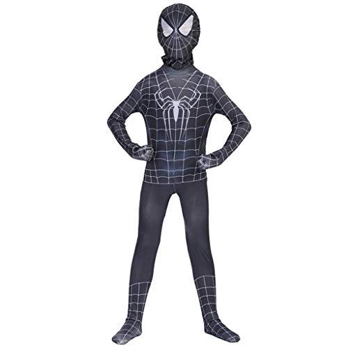 Kleinkind Deluxe Kostüm Spiderman - K-Flame Kinder Marvel Venom Spider Kostüm Cosplay Venom Spiderman Overall Halloween 3D Spider-Man Body für Kleinkinder Kostüm,Schwarz,S