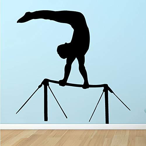 Geiqianjiumai Hohe Stange Gymnastik Wandaufkleber Sport Stil Wandapplikation Studio abnehmbar Vinyl schwarz 42x42cm