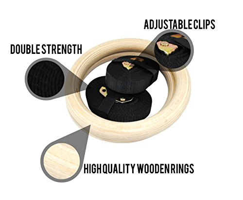 Senshi-Japan-Wooden-Olympic-Gymnastic-Rings-Double-Strength-Wood-With-Adjustable-Neoprene-Straps-Each-Ring-Can-Hold-Upto-150-kgs-Weight-Perfect-For-Bodyweight-Gymnastic-Strength-Training-Body-Building