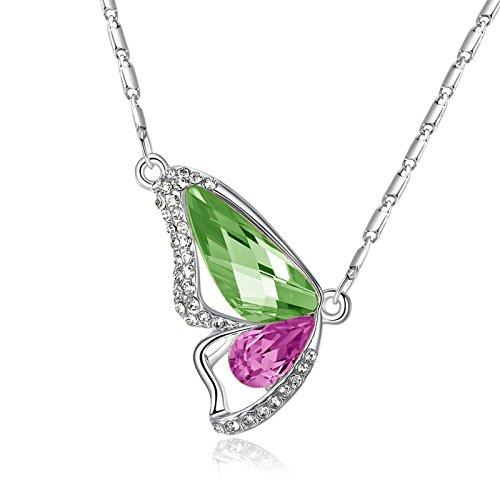 Onefeart Weiß Vergoldet Anhänger Damen Halskette Schmetterling Grün Rosa Zirkonia 3x2.1x45CM Silber