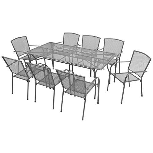 Lingjiushopping Set de comedor de jardin 9 piezas malla de acero Dimensiones de la mesa: 180 x 90 x 72 cm (longitud x anchura x altura)