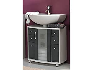 Posseik Nizas Meuble sous lavabo Blanc/gris brillant