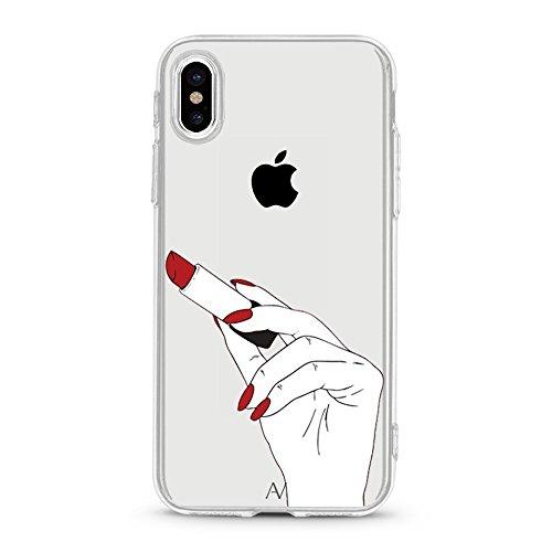 iPhone 7Plus/iPhone 8Plus Custodia, iPhone X Cover Avana® Custodia Flessibile Case Custodia protettiva trasparente Rigida Cover in Silicone Trasparente + TPU Apple Custodia Cover Motivo red lipstick