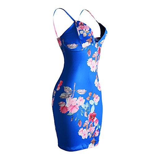 Femmes manches sans manches col V Cami Floral Printed Bodycon Party Clubwear robe Bleu