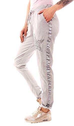 Easy Young Fashion Damen Vintage Sweathose Pailletten Stern Hellgrau