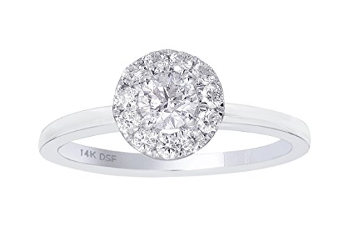 Diamond Studs Forever - Anillo compromiso halo diamantes certificado IGI 1/2K GH/I1 oro blanco 14K