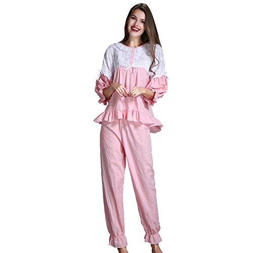 GJX Lady automne manches longues pyjama coton vêtements de nuit maison vêtements Pink