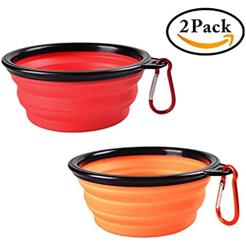 Plegable recipiente para perros, 2 * EMTOP pescados del silicón libre de BPA aprobado por la FDA, plato plegable extensible Copa de Alimentación animal doméstico del gato Agua Alimentación portátil de viaje Bowl, rojo y naranja, 2 en 1 Pack