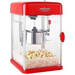 Máquina para hacer palomitas de maíz • retro • palomitero • 350 W • extraíble • iluminación interior • aprox. 60 l/h • puerta con cerradura magnética • cuchara dosificadora • Rojo