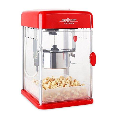 Klarstein Rockkorn • Popcornmaschine • Retro • Popcorn • 350 W • abnehmbar • Innenbeleuchtung • ca.60 l / h • Tür mit Magnetschloss • Messlöffel • Rot