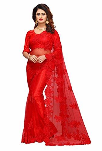 I-Brand Women's Mono Net & Banglori Silk Fabric Saree With Blouse Piece...