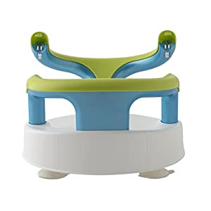 Rotho Babydesign Bath Seat, With hinged ring and child safety lock, 7-16 months, Up to 13 kg, BPA-free, 35 x 31.3 x 22 cm, White/Apple Green/Aquamarine Pearl