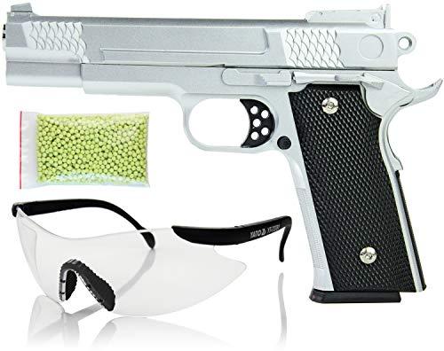 Nerd Clear Softair-Pistole Silber Metall Spielzeug-Waffe Federdruck max.0,5 J im Set mit 1000 Kugeln 6 mm Munition und Schutz-Brille