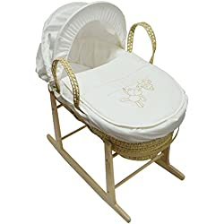 Baby Moses cesta con soporte balancín y Natural crema para colgar Ted Palma