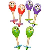 alles-meine.de GmbH Rasseln -  lustige Eulen - Bunte Farben  - aus Holz - für Babys - Kinder & Erwachsene - Maracas / Rumba & Samba Rassel - Musikinstrumente - Kinderrassel / H..