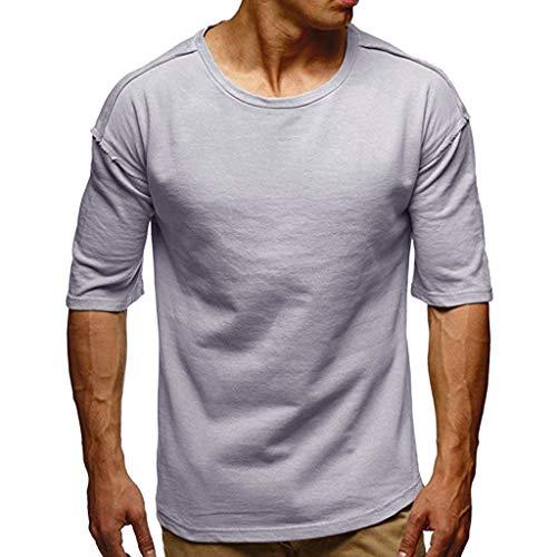Shangqi Herren Sommer T-Shirt Slim Fit Baumwolle-Anteil Moderner Männer T-Shirt Kurzarm Herren Fitness T-Shirt meliert Männer Kurzarm Shirt für Gym & Training Passform Slim-Fit lang mit Rundhals