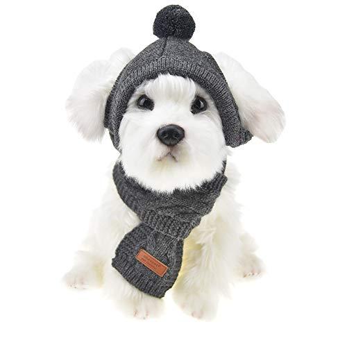 MUYAOPET Muyaotet Winterschal und Mütze für Hunde und Katzen, Nackenwärmer, M, grau