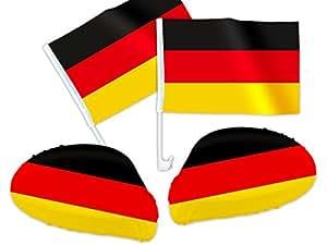 4 tlg. Alsino WM Deutschland DE-01 WM Fanartikel Auto Fanset Fanpaket AutoflaggenSpiegelüberzug Autofahne
