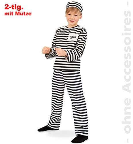 Sträfling 2tlg m Mütze Straefling Gefangener Gefängnis Kinder Kostüm Gr 152