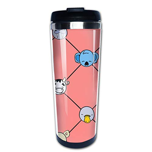 Animal Hall Of Fame Grid (Brights On Coral) Multi Insulated Stainless Steel Travel Mug 14 oz Classic Lowball Tumbler with Flip Lid Nissan Thermos Travel Mug
