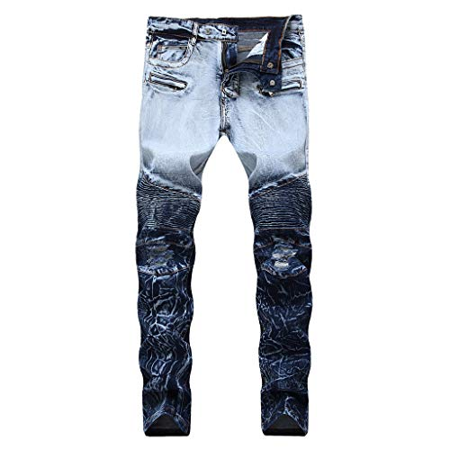Herren Mode Personality Bestickte Zipper Stretch Denim Hose Hip-Hop-Hosen Tanzhose Kleid Hose Sporthosen Pants (Herren Bestickt Denim)