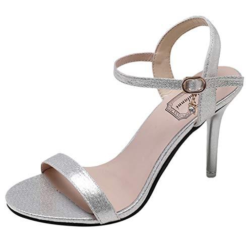 feiXIANG Damen Pumps |Bequeme High Heels|Vintage Frauen Party Stiletto Sandalen Peep Toe Abendschuhe Business Casual Schuhe (Silber,39) Leopard Patent High Heel