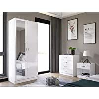 Mirrored High Gloss 3 Piece Bedroom Furniture Set - Soft Close Wardrobe, 4 Drawer Chest, Bedside Cabinet