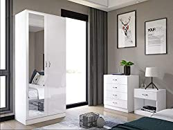Harmin Mirrored High Gloss 3 Piece Bedroom Furniture Set - Soft Close Wardrobe, 4 Drawer Chest, Bedside Cabinet (White on White)