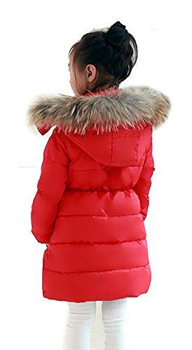 Minetom Mädchen Winter Lang Wintermantel Mantel Jacket Trenchcoat Parka Oberbekleidung Kleidung Rot 146/152 - 2