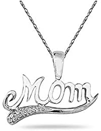 Silvernshine 0.05 Ct Round Cut Sim Diamond Mom Pendant With 18'' Chain 14K White Gold Fn