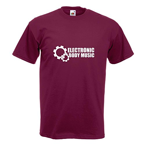KIWISTAR - Elektronic Body Music - EBM Zahnrad T-Shirt in 15 verschiedenen Farben - Herren Funshirt bedruckt Design Sprüche Spruch Motive Oberteil Baumwolle Print Größe S M L XL XXL Burgund