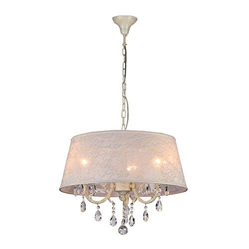 Luxuriöser Kristall Kronleuchter Kerzen aus Metall in Farbe Elfenbein, geschnitzte Arme und Kerzenteller, echter Kristall-Dekor, weißer Schirm aus transparenter Organza, 3-flammig exkl. E14 40W 220V