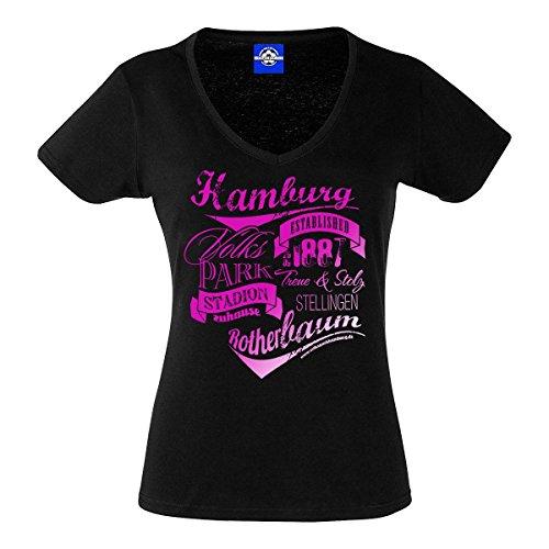"""Damen T-Shirt \""""Vintage Typo\"""" Metallic Pink Druck (schwarz, l)"""