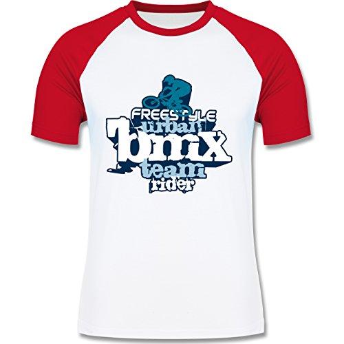 Radsport - BMX - zweifarbiges Baseballshirt für Männer Weiß/Rot