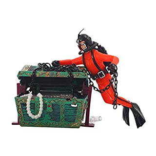 ReFaXi Aquarium Fish Tank Decoration Landscape Ornament Frogman Treasure Hunter Diver(orange)