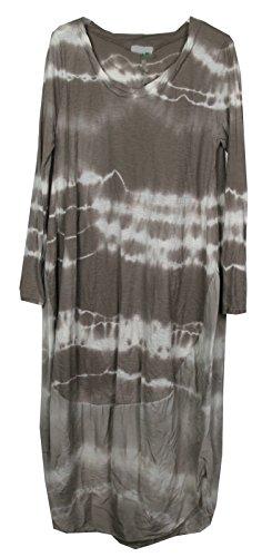 Neuer Frauen Damen Tie Tye Dye Krawatten-Lagenlook Quirky Italienisch Cocoon Langarm Tunika-Kleid (Tye Kleid Dye)