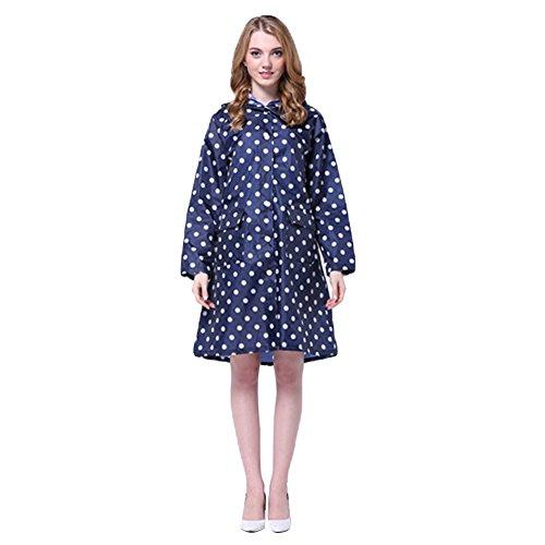 Femme Manteau de pluie Imperméable Poncho-pluie Capuche Cape de Pluie K-way Vêtement de pluie à Pois -Très Chic Mailanda Bleu