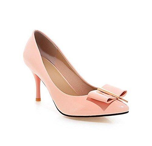 Solide Runde Zehe Plattform (DamenschuheFrauen 's Court Schuhe Dünn Mit High - Heeled Shallow Mouth Stilvolle Einfache Metall Solide Schuhe , pink , 42)