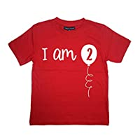 Edward Sinclair 2-3 Years Red 2nd Birthday T-Shirt I Am Two with White Print