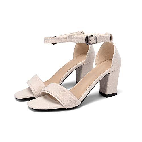 Kitten High Heel (Ruiting Frauen Kitten Heel Sandaletten aus Wildleder Knöchelriemen Blockabsatz Büro Elegante Arbeits Abend Sandale Schuhe)
