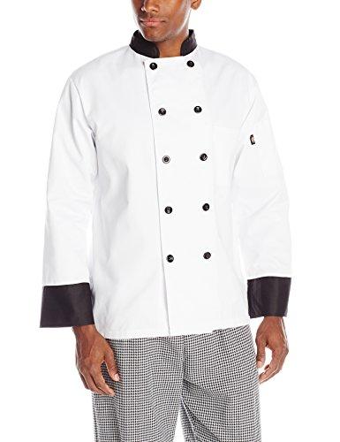 Dickies M?nner 10-Tasten-Koch Mantel mit schwarzen Kn?pfen und Trim, wei?, X-Large (Dickies-tasten)