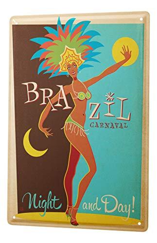 Blechschild Welt Reise Brasilien Karneval Tag und Nacht kostümierte Frau Wand Deko Schild 20X30 cm