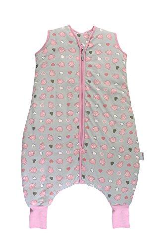 Schlummersack Ganzjahres Schlafsack mit Füssen für Mädchen 2.5 Tog - Elefanten Grau/Pink - 80 cm