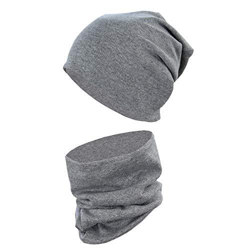 TupTam Unisex Kinder Beanie Mütze Schlauchschal Set Uni, Farbe: Dunkelgrau Meliert, Größe: 38-44 cm