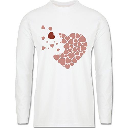 Romantisch - Herz Herzchen - Longsleeve / langärmeliges T-Shirt für Herren Weiß
