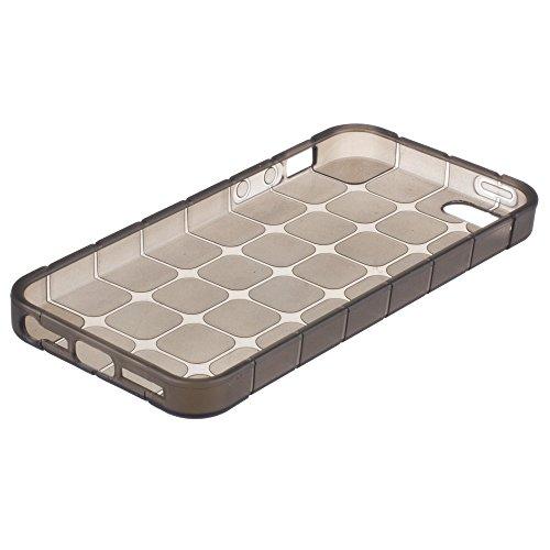 Xcessor Transition Farbe Flexible TPU Case Schutzhülle für Apple iPhone SE 5 5S. Mit Gradient Silk Gewinde Textur. Transparent / Grau Octagon / Grau
